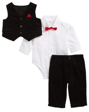 Little Me Infant Boy's Bodysuit, Corduroy Vest & Pants Set