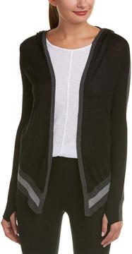 Blanc Noir Hooded Silk-Blend Wrap Cardigan