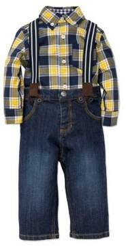 Little Me Baby Boy's Three-Piece Top Jeans & Suspenders Set