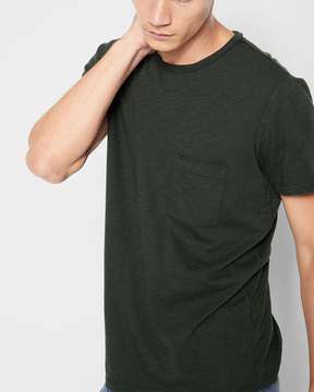 7 For All Mankind Short Sleeve Raw Pocket Crew in Dark Army