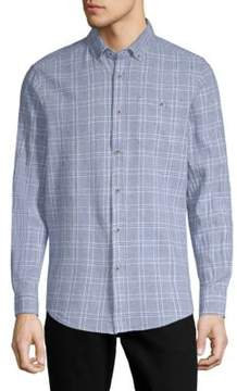 Report Collection Textured Windowpane Button-Down Shirt