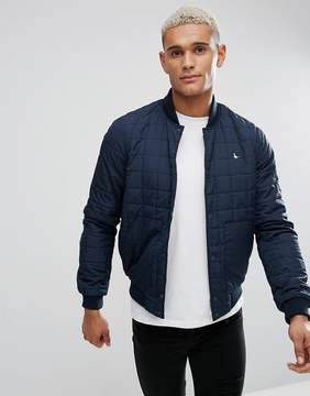 Jack Wills Blackden Padded Nylon Bomber Jacket In Navy