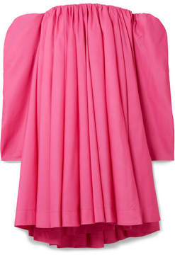 Calvin Klein Off-the-shoulder Gathered Taffeta Dress - Fuchsia