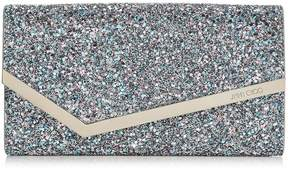 Jimmy Choo EMMIE Bubblegum Mix Coarse Glitter Fabric Clutch Bag