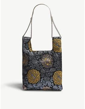 Hayward Metallic Blue Floral Silk Jacquard Mini Tote Bag
