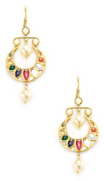 Amrapali Women's 22K Yellow Gold & Navratna Stone Drop Earrings