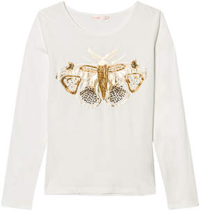 Billieblush Off-white and Gold Butterfly Embroidered Tee