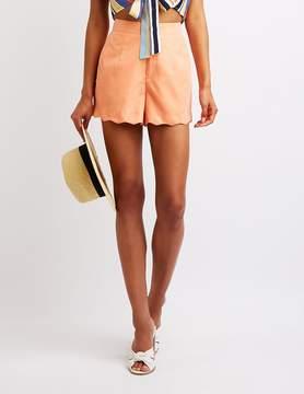 Charlotte Russe Scalloped High Waist Shorts