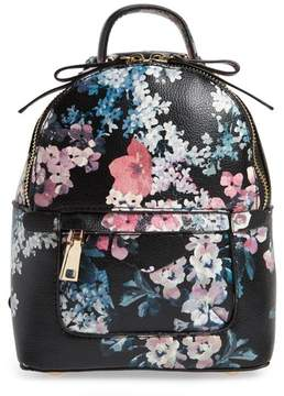 Bp. Mini Floral Faux Leather Mini Backpack - Black