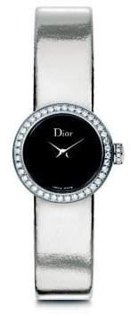 Christian Dior La Mini D de Diamond, Stainless Steel & Metallic Leather Strap Watch