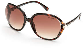 Tommy Hilfiger Tortoiseshell-Look Molly XL Round Wrap Sunglasses