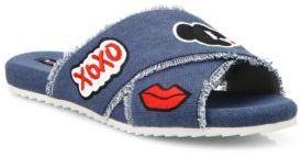Alice + Olivia Stace Emoji Denim Slide Sandals