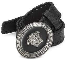 Versace Logo Buckle Leather Belt