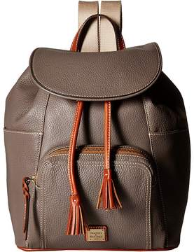 Dooney & Bourke Pebble Large Murphy Backpack Backpack Bags - ELEPHANT/TAN TRIM - STYLE