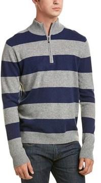 Qi Cashmere Rugby Stripe 1/4-zip Pullover.