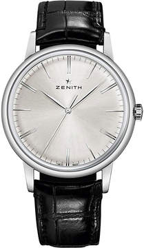 Zenith 032270615001C493 elite automatic stainless steel and leather strap watch