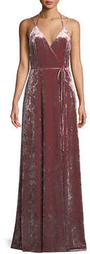 Aidan Mattox Velvet Halter-Strap Wrap Dress