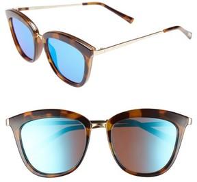 Le Specs Women's Caliente 52Mm Cat Eye Sunglasses - Milky Tortoise/ Blue