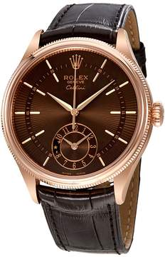 Rolex Cellini Brown Guilloche Dial Automatic Men's 18K Everose Gold Leather Watch