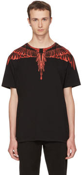 Marcelo Burlon County of Milan Black Saquin T-Shirt