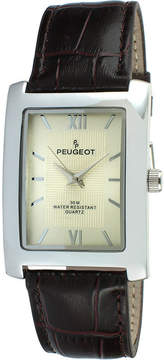 Peugeot Mens Rectangular Brown Leather Strap Watch 2033BR