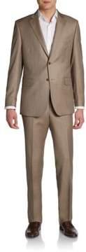 Saks Fifth Avenue BLACK Slim-Fit Sharkskin Wool Two-Button Suit