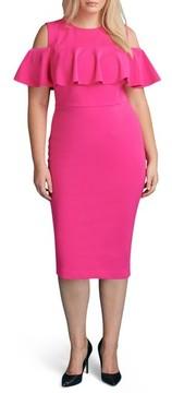 ECI Plus Size Women's Cold Shoulder Ruffle Sheath Dress