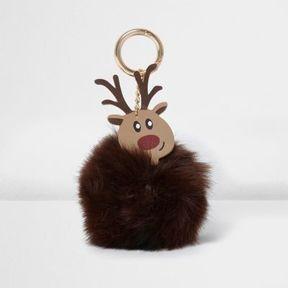 River Island Womens Brown faux fur pom pom reindeer keyring