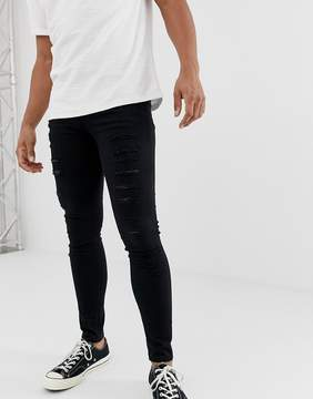 New Look Extreme Super Skinny Jeans With Rips In Black