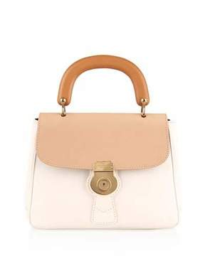 Burberry Trench Large Colorblock Leather Top-Handle Satchel Bag, Ivory - BEIGE/IVORY - STYLE