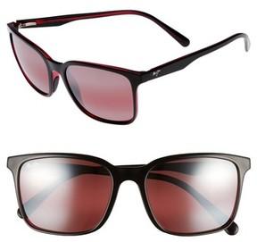 Maui Jim Men's Wild Coast 56Mm Polarized Sunglasses - Black With Red/ Maui Rose