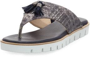 Amalfi by Rangoni Ballo Embossed Leather Sandal, Gray