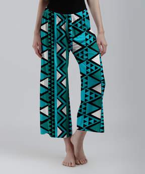 Lily Teal & White Geometric Palazzo Crop Pants - Women & Plus