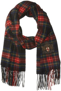 Polo Ralph Lauren Crest Embellished Cashmere Holiday Tartan Scarves