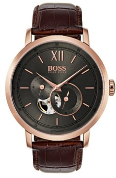 BOSS Men's Signature Automatic Leather Strap Watch, 44Mm