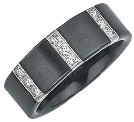 Armani Exchange Jewelry Mens Diamond Wedding Band In Satin Black Ceramic (0.25 Carats, H-i I3).