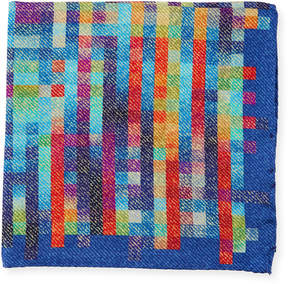 Bugatchi Grid-Print Silk Pocket Square