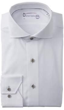 Lorenzo Uomo Solid Textured Trim Fit Dress Shirt