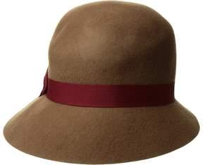 Scala Wool Felt Cloche w/ Ribbon Caps