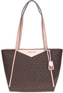 Michael Kors Whitney Medium Signature Logo Tote- Brown/Soft Pink/Fawn - ONE COLOR - STYLE