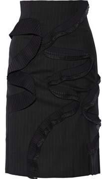 Facetasm Pleated Pinstriped Wool-Twill Skirt
