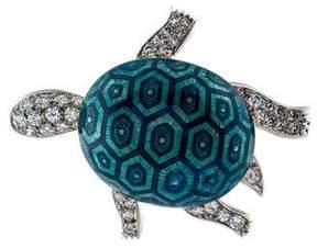 Boucheron Diamond Turtle Enamel Brooch