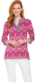 C. Wonder As Is Floral Tile Print 3/4 Sleeve Knit Tunic