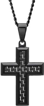 JCPenney FINE JEWELRY Mens Black Stainless Steel Cross Pendant Necklace