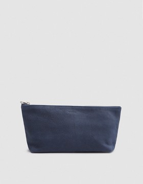 Small Cosmetic Pouch in Navy Nubuck