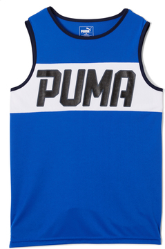 Puma Blue Color Block 'PUMA' Muscle Tank - Boys