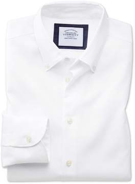 Charles Tyrwhitt Classic Fit Button-Down Business Casual Non-Iron White Cotton Dress Shirt Single Cuff Size 15/35
