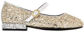 Simonetta Maxi Glittered Leather Ballerina Flats