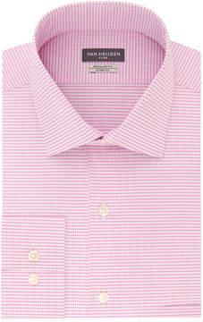 Van Heusen Wrinkle-Free Flex Collar Long Sleeve Twill Checked Dress Shirt