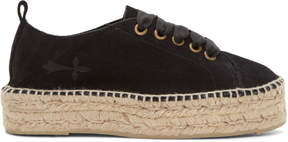 Manebi Black Suede Hamptons Sneaker Espadrilles